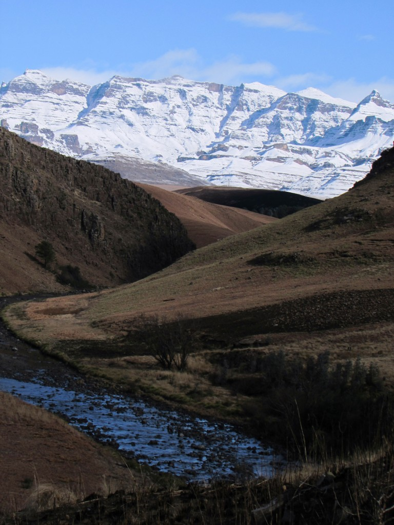 Snow on the Southern Drakensberg Mountains