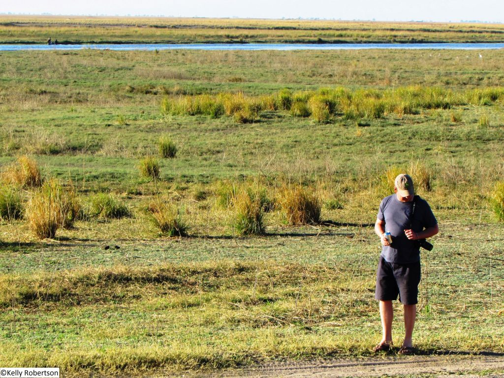 walking at Ihaha camp, Chobe National Park