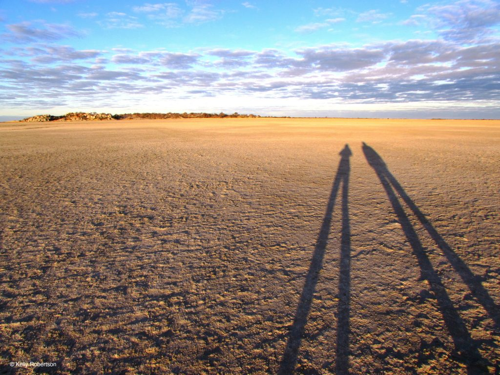 long shadows on the Makgadikgadi Pans