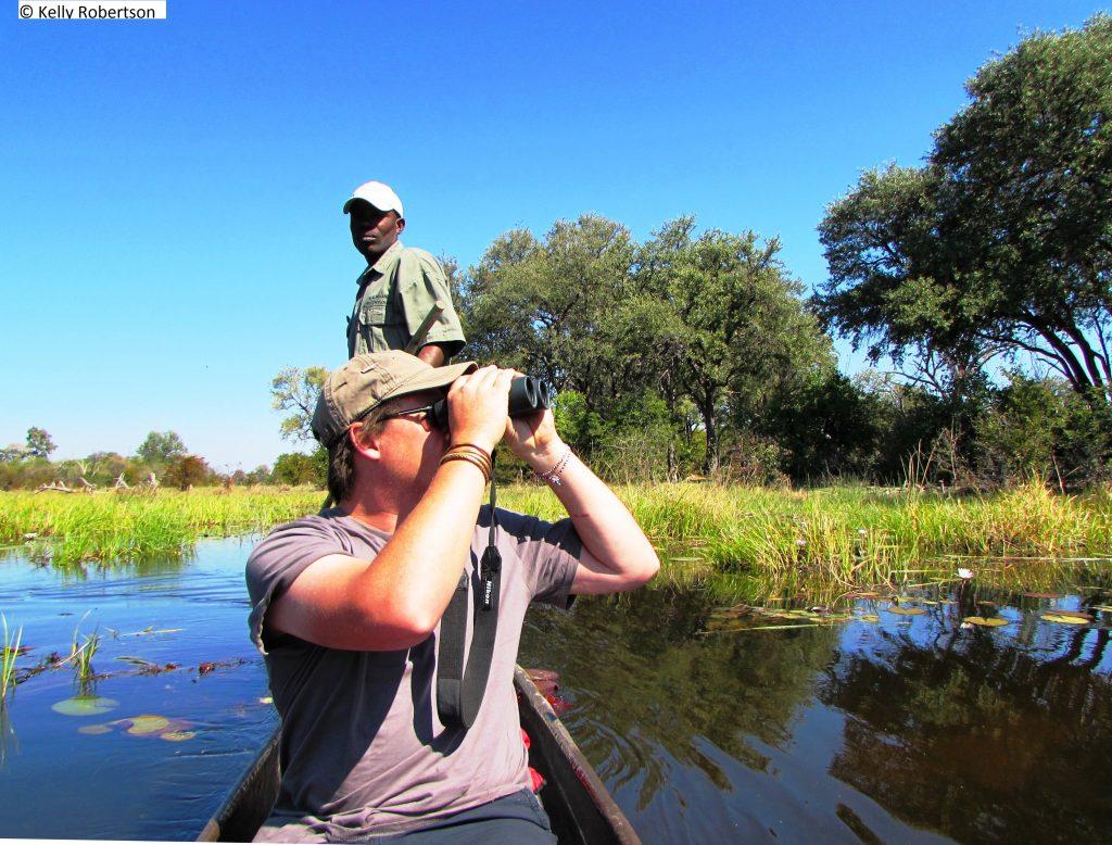 bird watching from a mokoro, Khwai Botswana