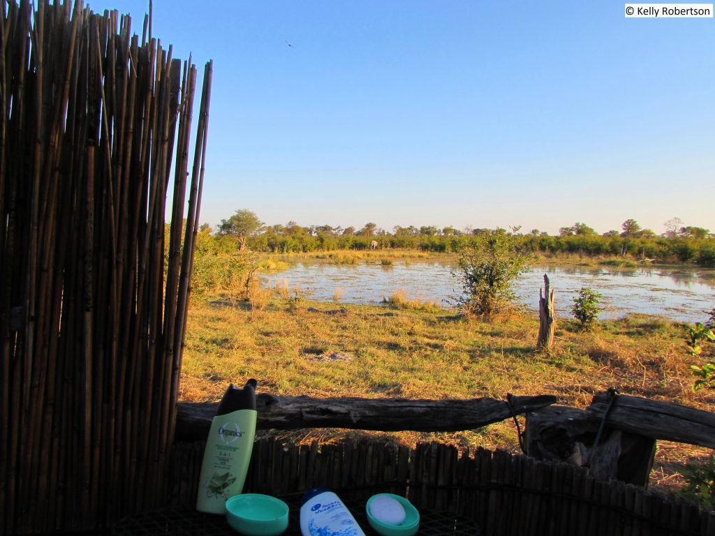 Showers and loo with a view at Dizhana Camp, Botswana