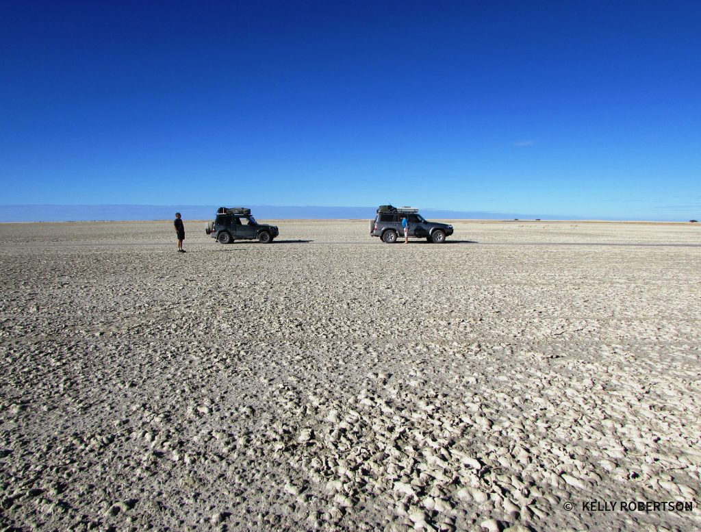 Pajero and Patrol on the Makgadikgadi salt pans